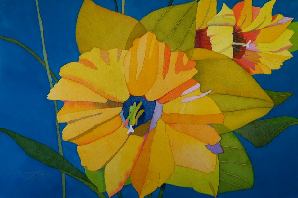 Yellow Daffodils on Blue
