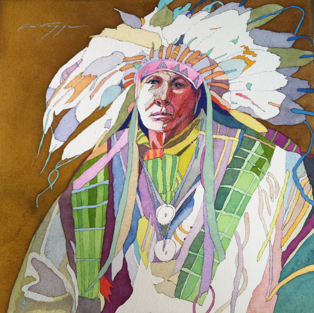 Little Chief with Headdress on Tobacco Background 12 x 12 in.JPG