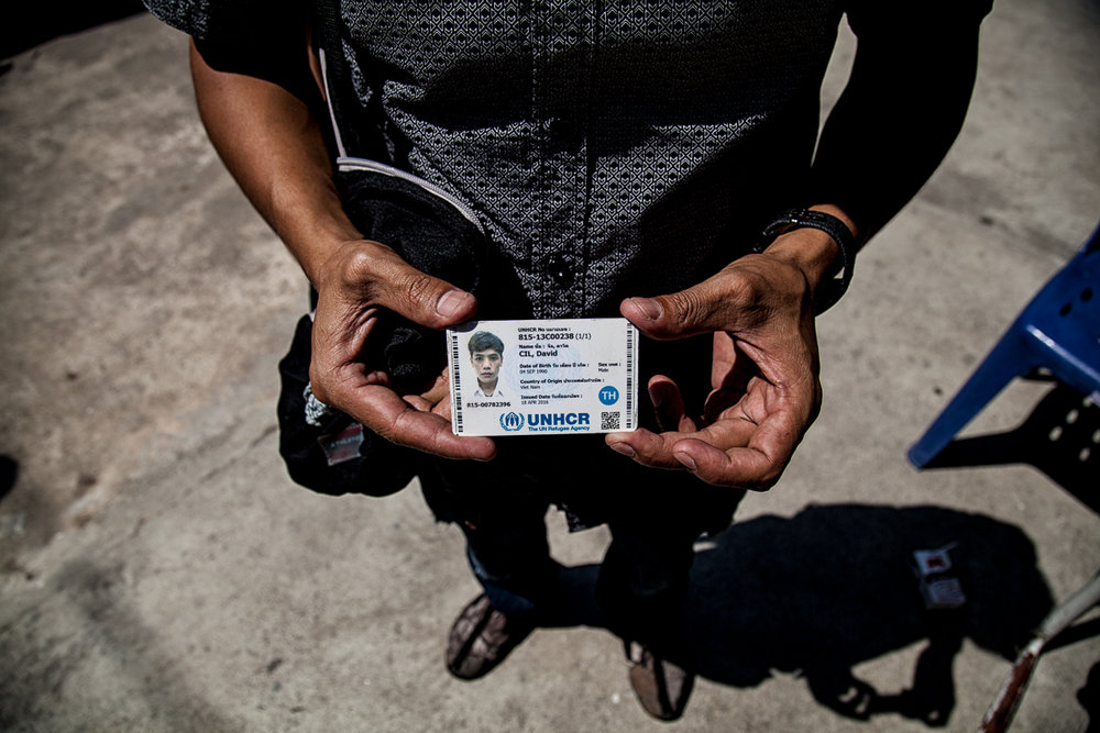 David Cil, Bangkok, Thailand, Feb. 5, 2017. David show his UNHCR card as proof that he was interviewed - he wants his case to be reopened and his waiting for another appeal with the UNHCR.