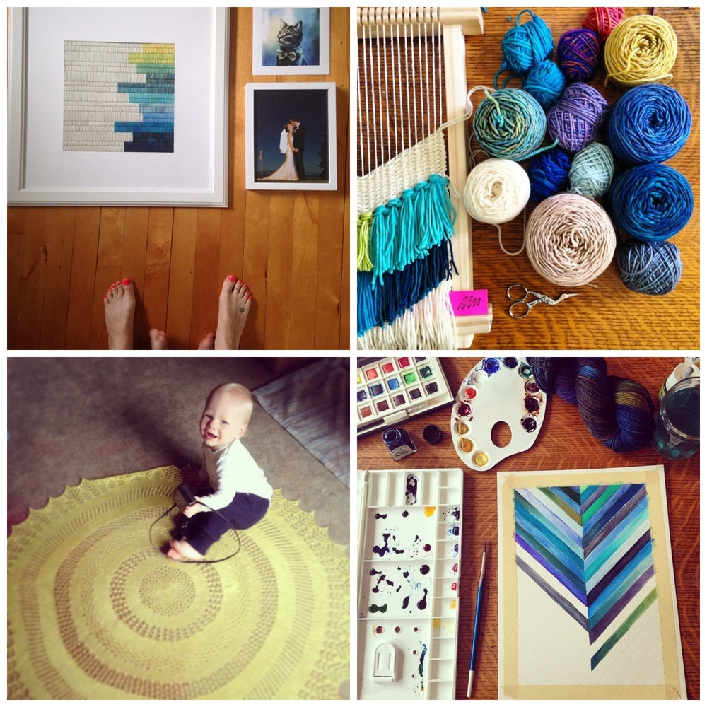 Clockwise from top left: art for my newly painted guest room wall, a weaving in progress, watercolour fun, Rowan sitting on a freshly blocked new lace-weight design - details to come!