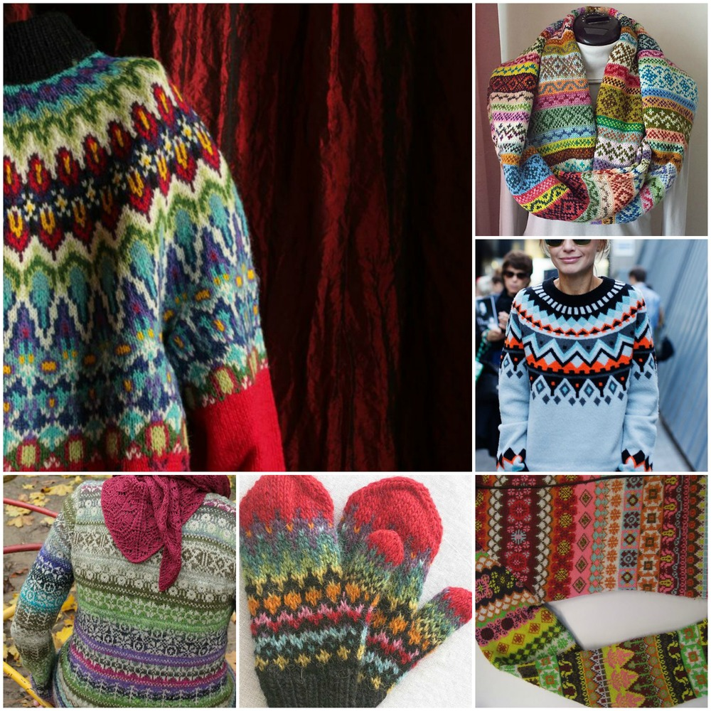 sources: ahh!  this amazing yoke ! gorgeous  cowl .  graphic sweater  for cool chics.  sideways sweater .  lovely mittens .  fair isle sweater  with red shawl..