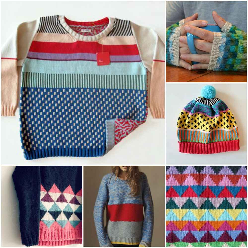 sources:  scrappy sweater . checkerboard  mitts . adorable  hat with perfect pompom .  triangles .  colour block sweater .  pink and navy  triangle sweater.