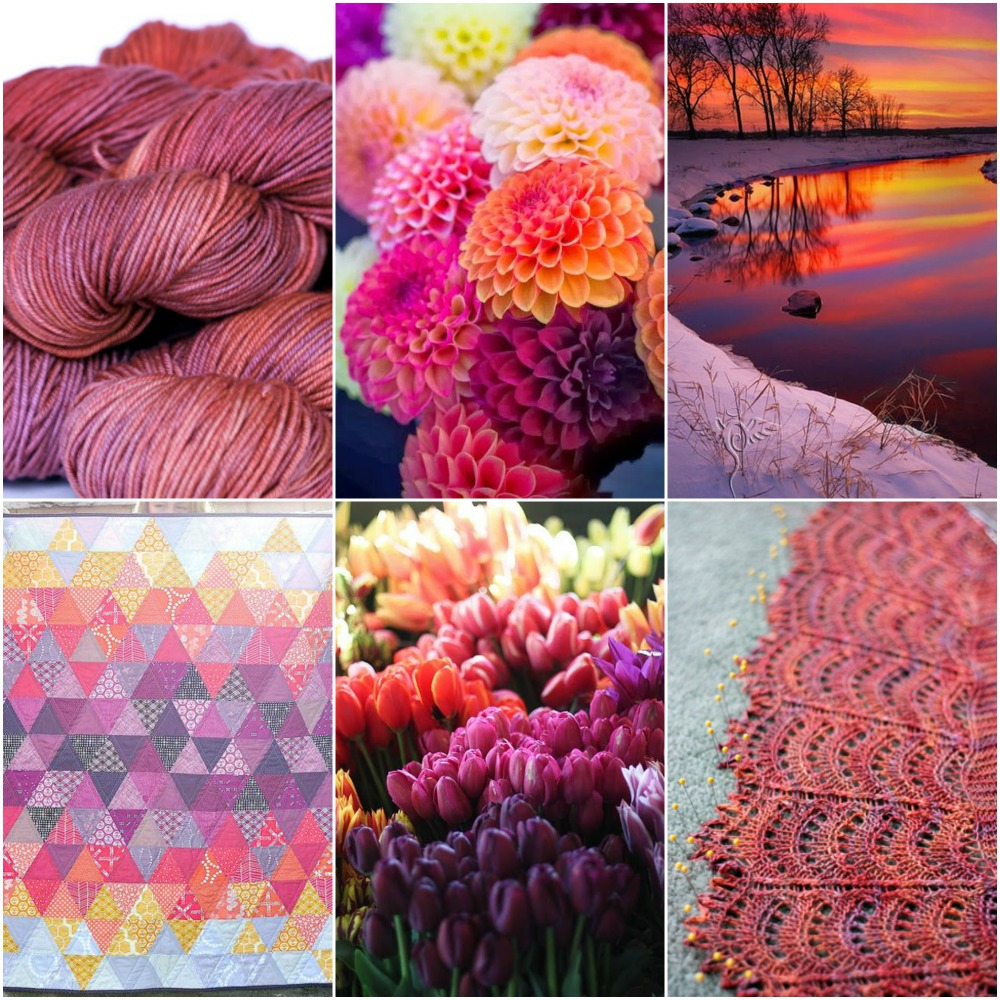 Sources, left to right, top to bottom: TFA Green Label in Sunset, Dahlias, Sunset, Quilt, Tulips, TFA Suncrest Shawl in Sunset.