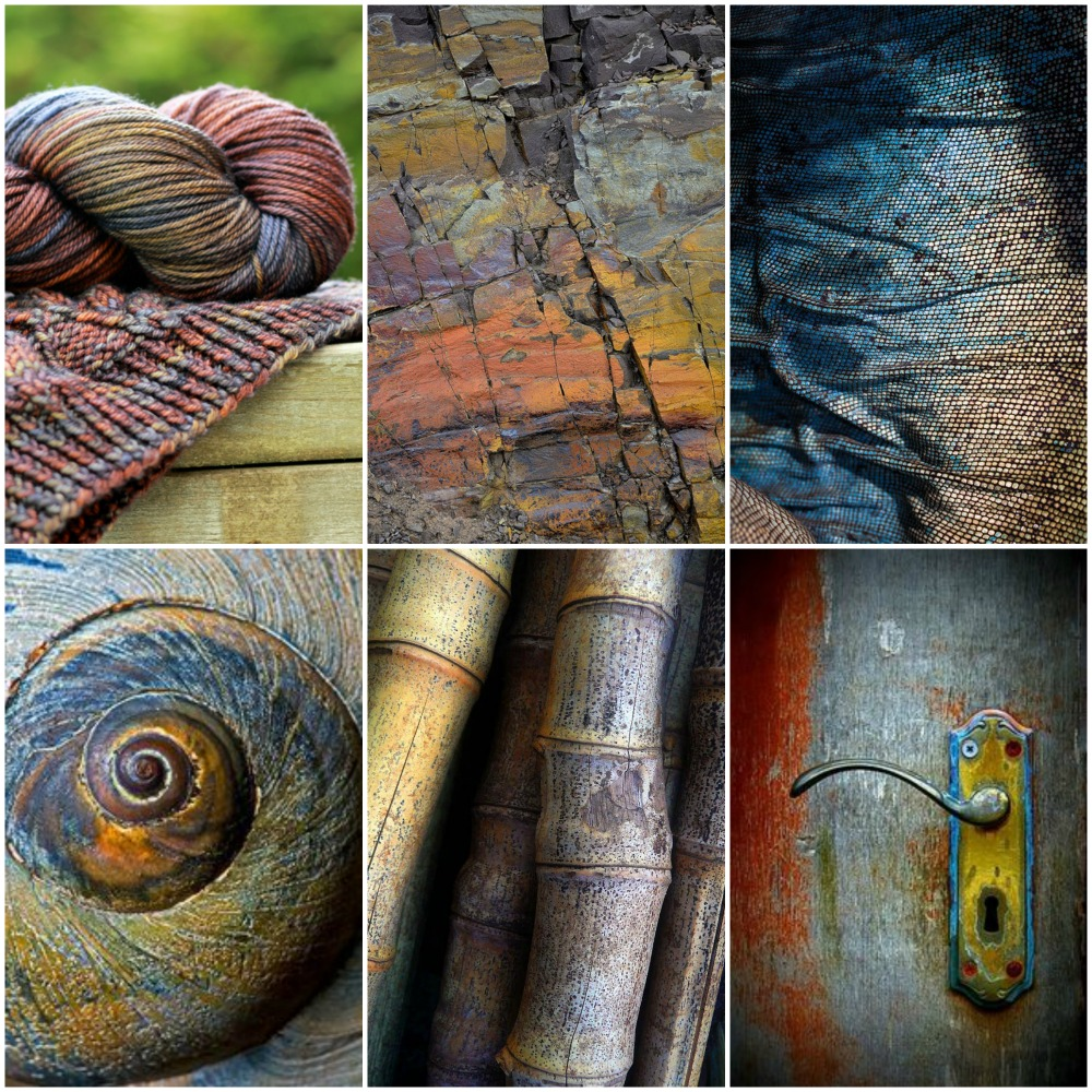 Sources from top left: TFA Orange Label in 'Mosaic', stone wall, blue iguana skin, seashell, bamboo, door knob.