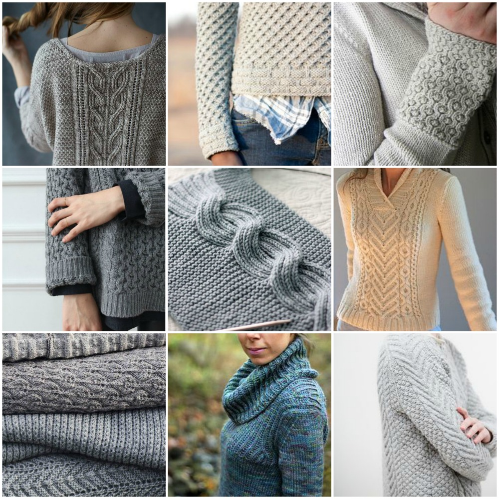 Sources, left to right, top to bottom:  Sous sous ,  Tundra  ,   Assemblage cuff  ,   Grey honeycomb sweater  ,   Millwater ,   I Heart Aran ,   Gorgeous stack 'o knits  ,   My version of Oshima  !,  Cordova .