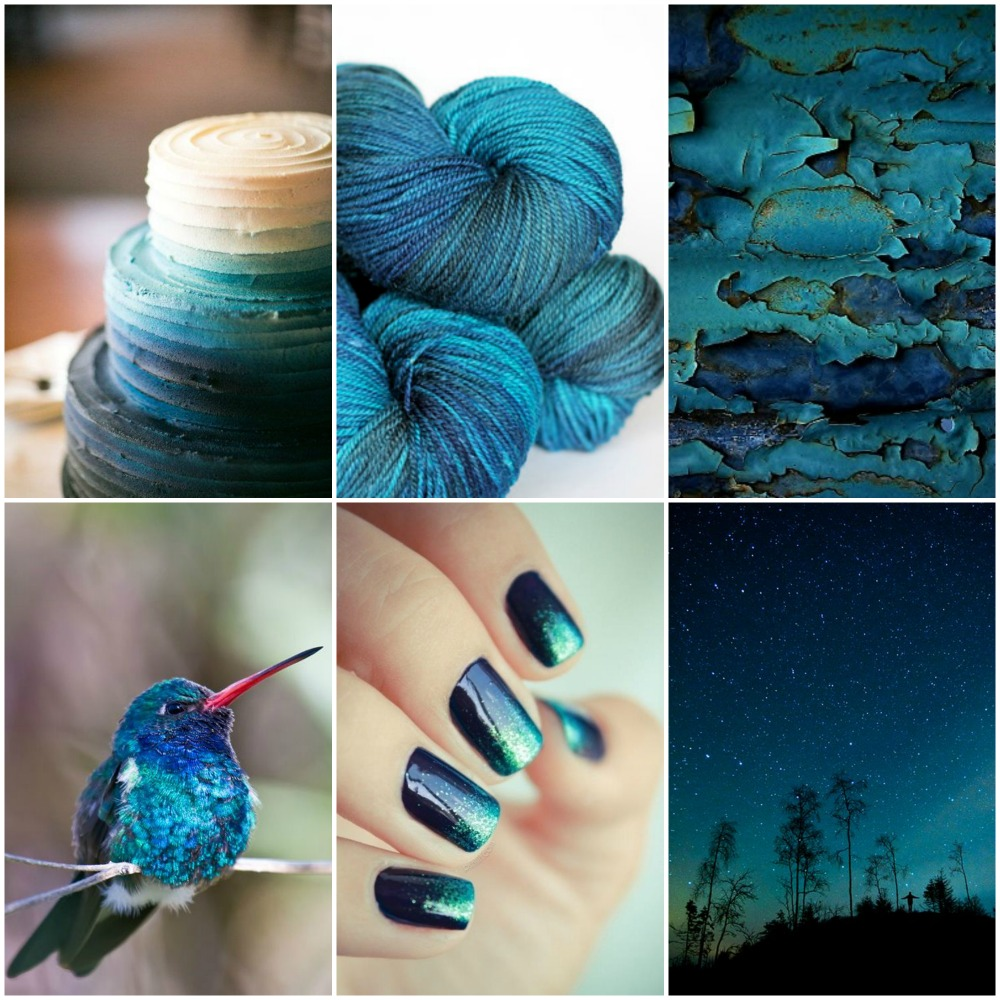 Sources, top to bottom, left to right :: wedding cake, TFA Amber Label in Deep Sea, chipped paint, hummingbird, Ombre nails, night sky.