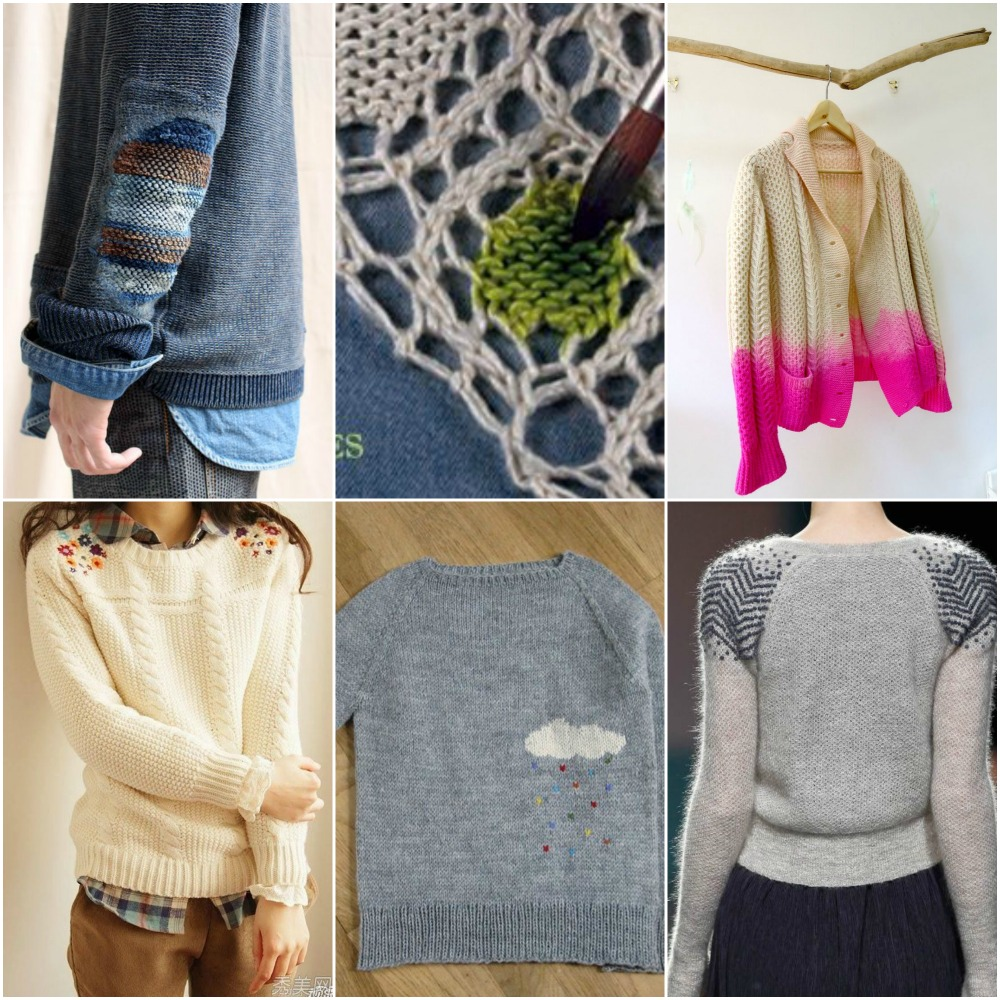 Image Sources, top to bottom, left to right:  elbow patch ,  painting dye onto knit  ,   dip dyed cardigan  ,   embroidered shoulders  ,      cloud sweater  ,    zigzag shoulders .