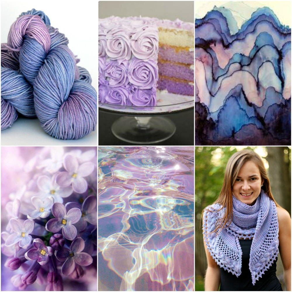 Sources: TFA Orange Label Cashmere/Silk Worsted weight in Lilac, cake, paper art, lilacs, water reflection, Lilia's French Cancan.