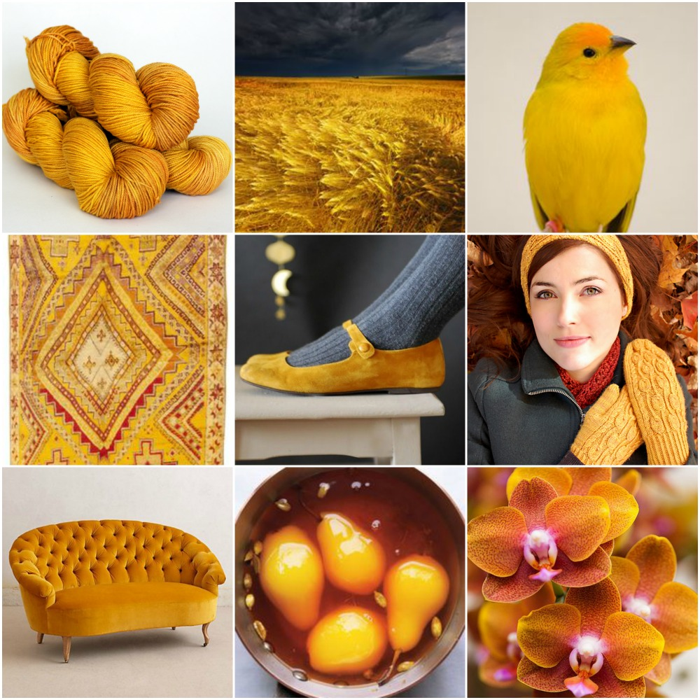 Sources: TFA Amber Label in Saffron, wheat, finch, vintage rug, shoes, Pemba, sofa, poached pears, orchid.