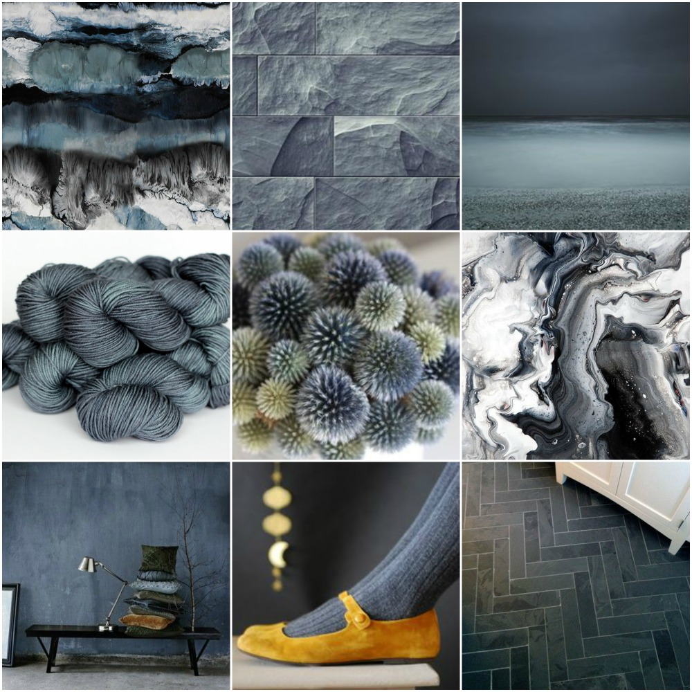 Sources:   abstract art  ,   stone wall  ,   beach  ,   TFA Green label Aran Weight yarn in   Slate  ,   thistles  ,   marbled surface pattern  ,   pillows/bench against wall  ,   gold shoes  ,  herringbone floor .