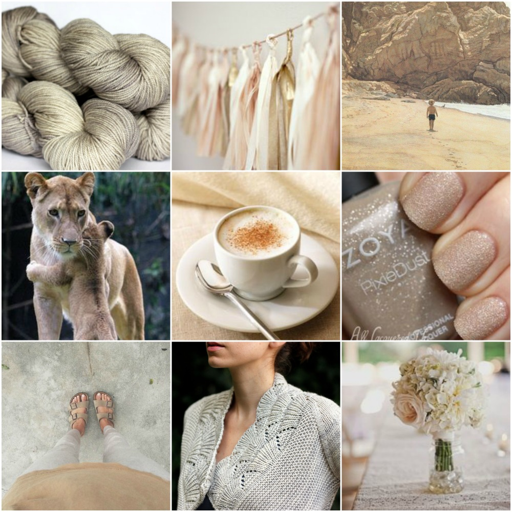 Sources: TFA Amber Label Cashmere/Silk DK in  Sand ,  tassels ,  beach boy ,    lions  ,   coffee ,  nails ,  feet ,  Nanook  ,     flowers .