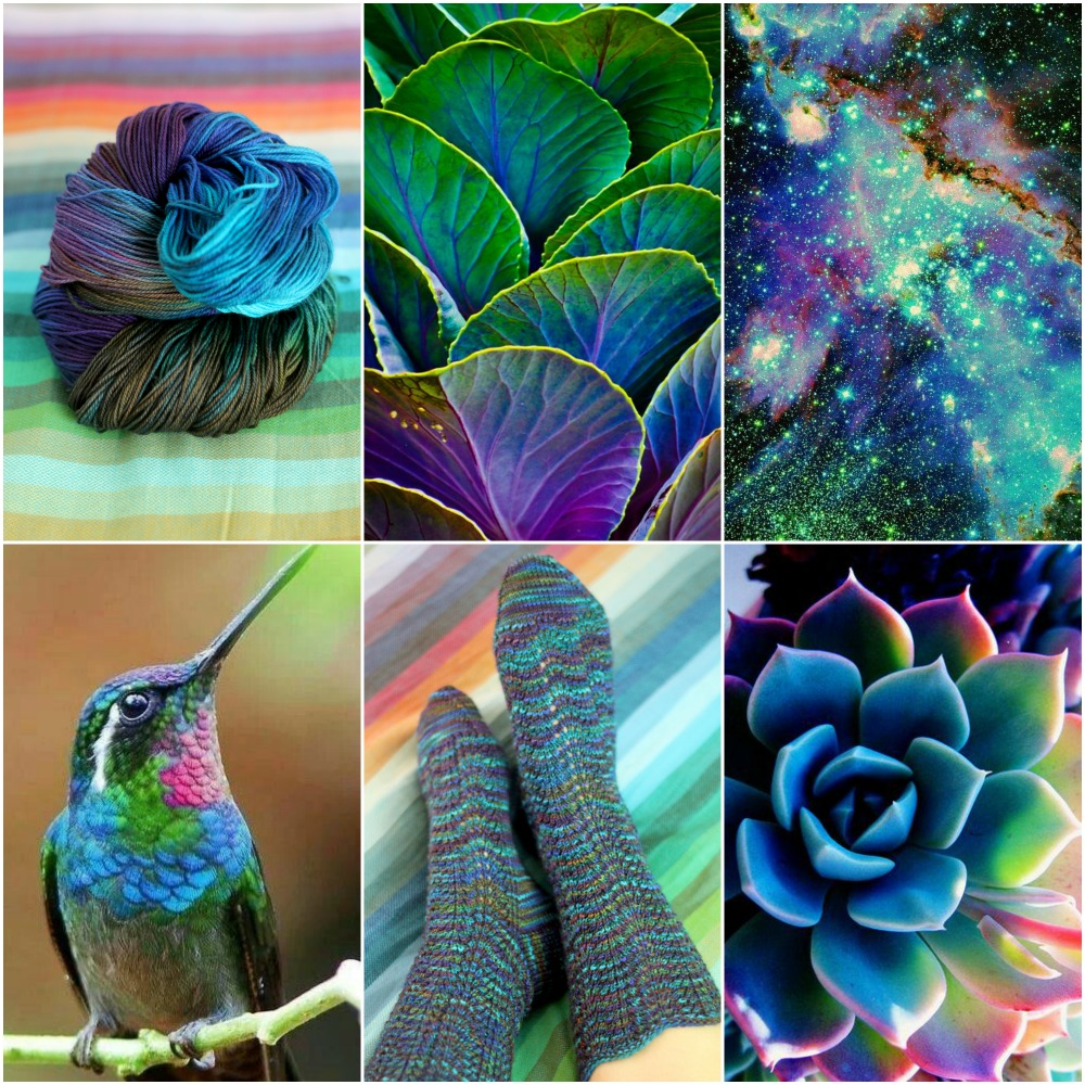 Source: TFA Blue Label in Cosmic, cabbage leaves, the universe, hummingbird, Cosmic Wave socks, succulent.