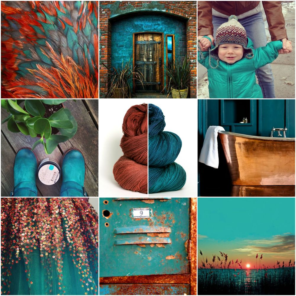 feathers ,  brick doorway , Rowan from my Instagram account, my boots (also from Instagram), TFA Pink Label Lace Weight yarn in  Brick  and  Teal ,  copper tub ,  dress ,  locker ,  sunset .