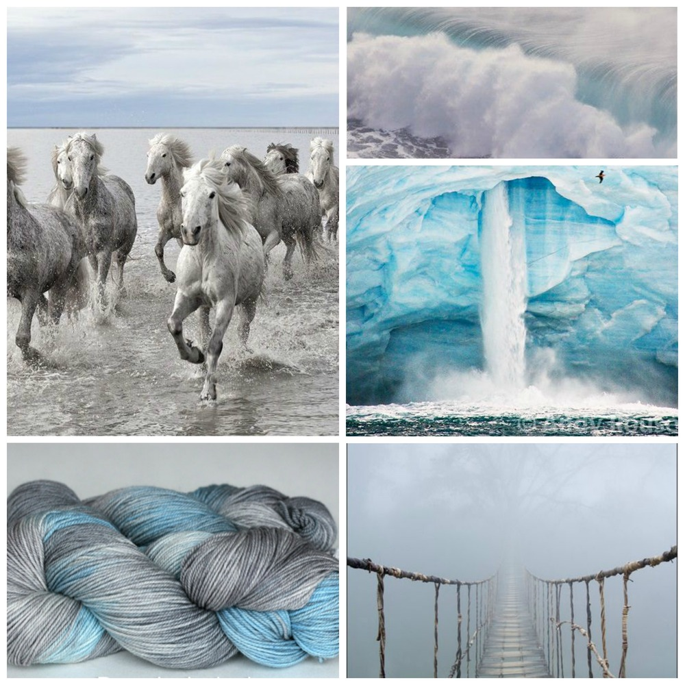TFA Purple Label Cashmere Sock in Shadow, horses, waves, glacier, bridge.