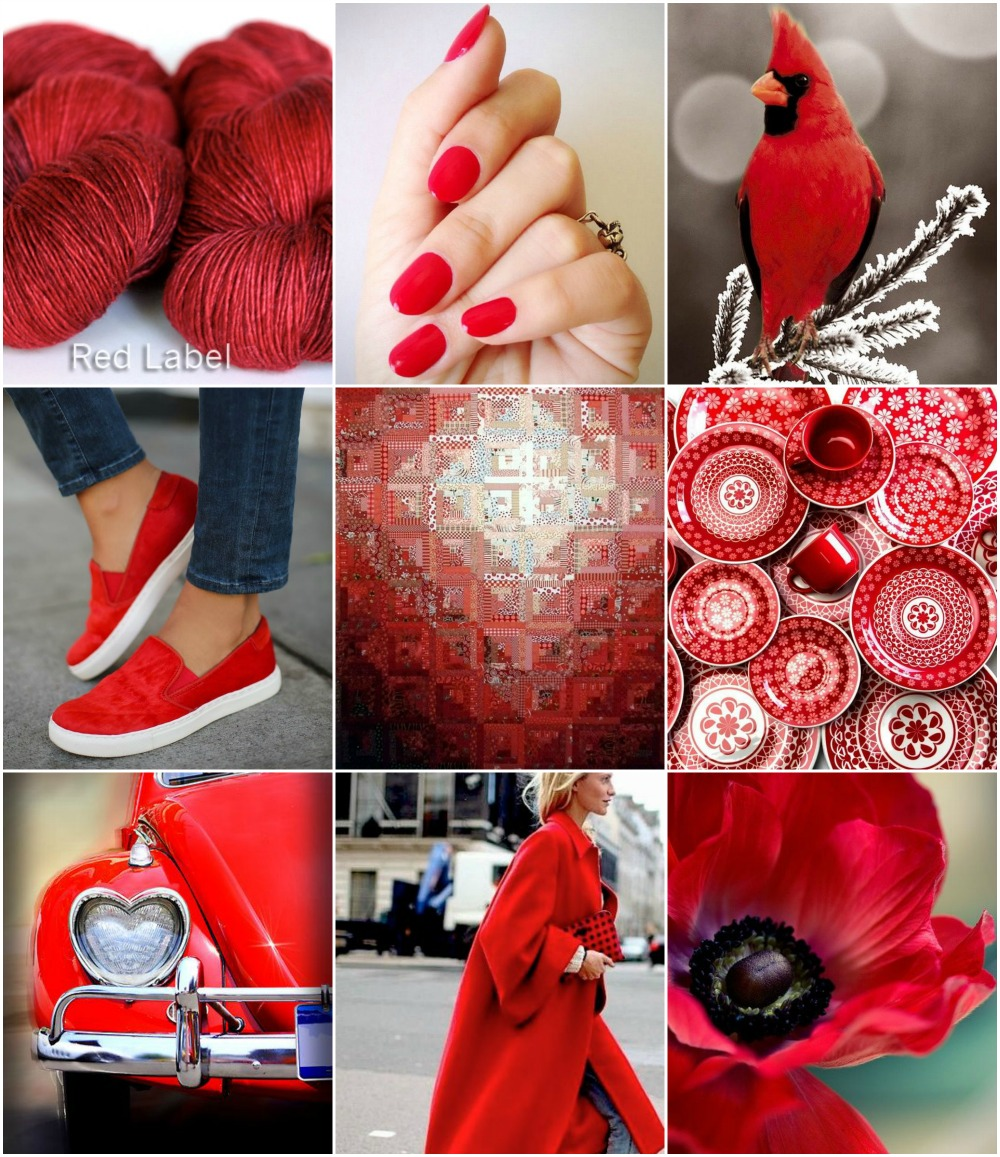 TFA Red Label Cashmere/Silk Singles in Poppy, nails, cardinal, shoes, log cabin quilt, dishes, car, red coat, poppy.