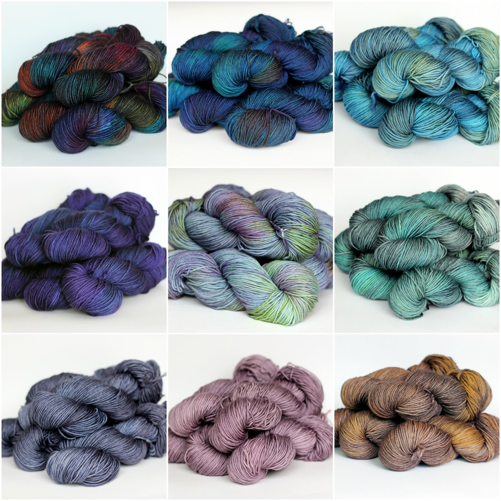 Left to right, top to bottom: Flamenco, Cosmic Night, Fjord, Luxe, Misty, Lotus, Lilac Dove, Rose Grey, Coppertone.