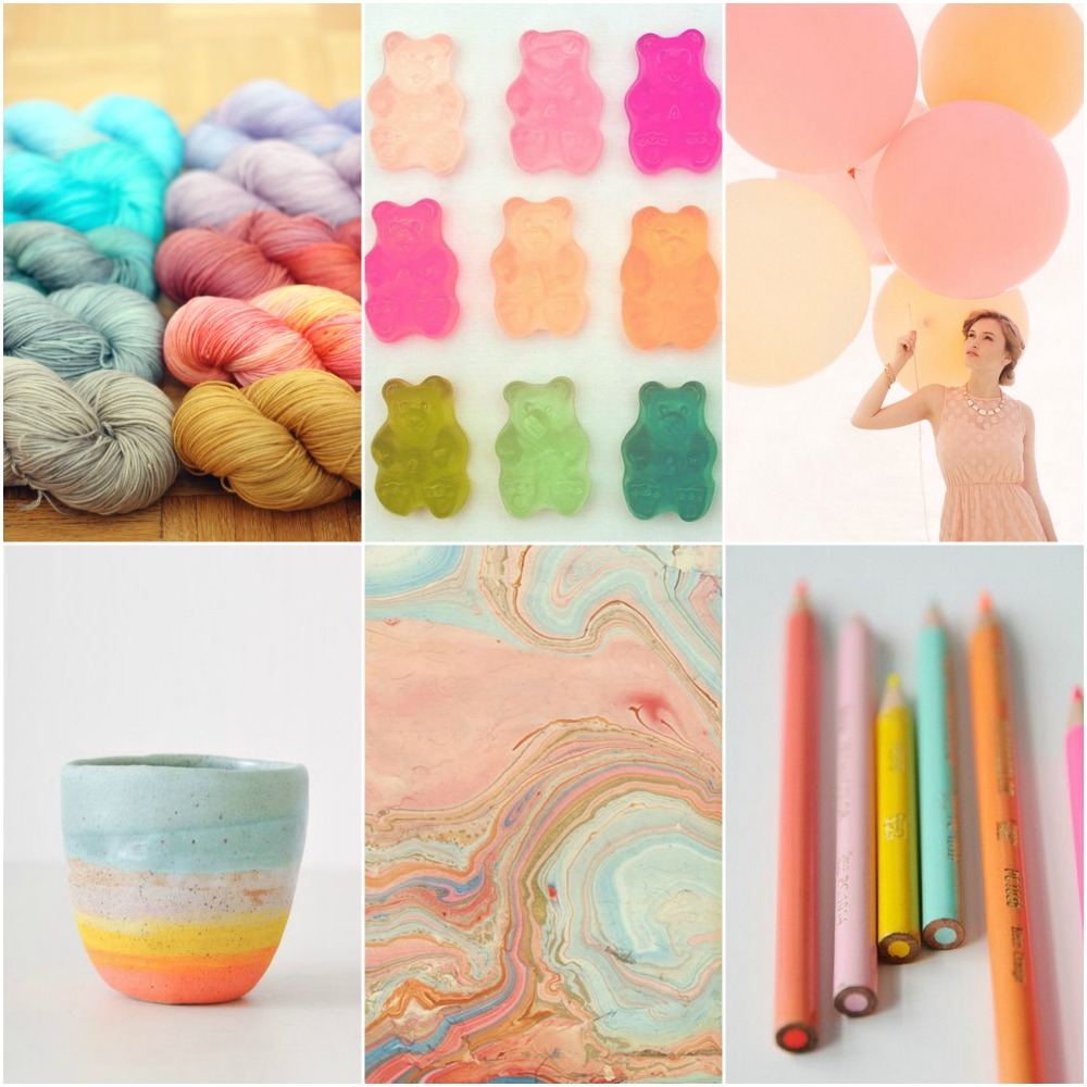 Source: TFA Blue Label in a variety of fabulous springtime colours,  gummy bears, balloons, bowl, marbled paper, pencils.