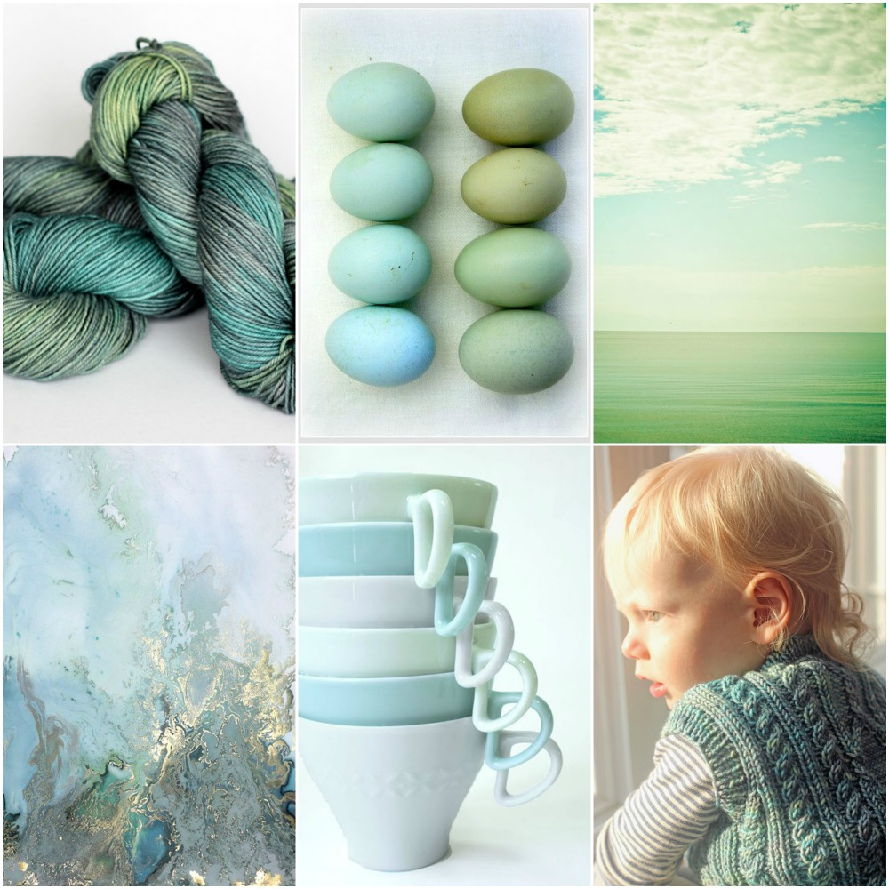 TFA Orange Label in Lotus (a ooak colourway), eggs, sky, abstract art, cups, Rowan's Pembroke vest.