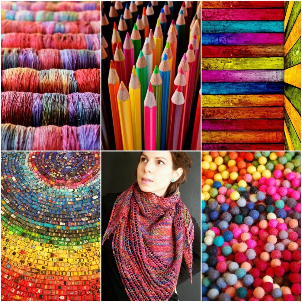 TFA Cosmic Blue Label in Kaleidoscope, coloured pencils , rainbow barn board , toy cars , Wex Shawl , rainbow felt balls .