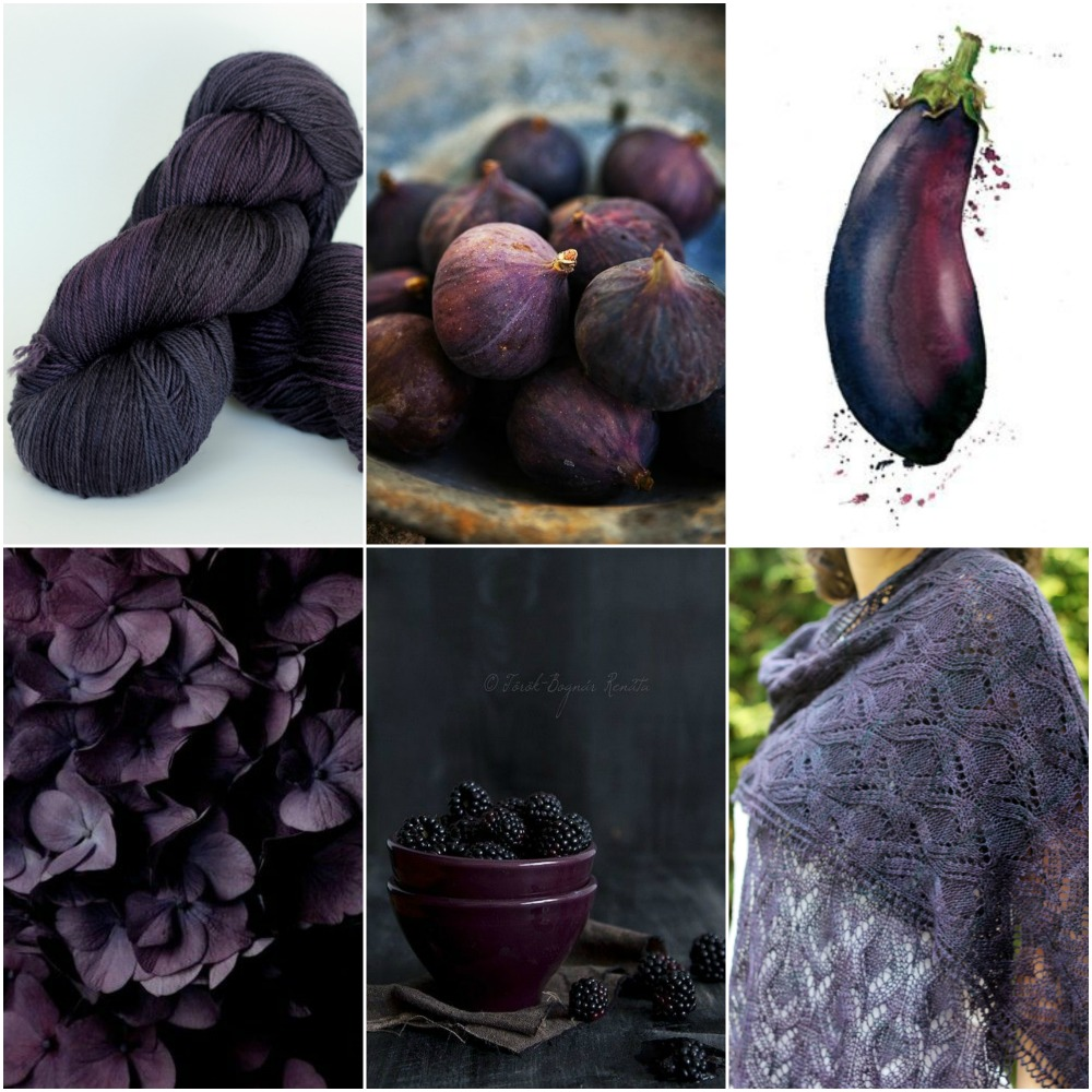 TFA Blue Label in Fig,  figs ,  eggplant watercolour ,  petals ,  blackberries ,  Belmont Stole .