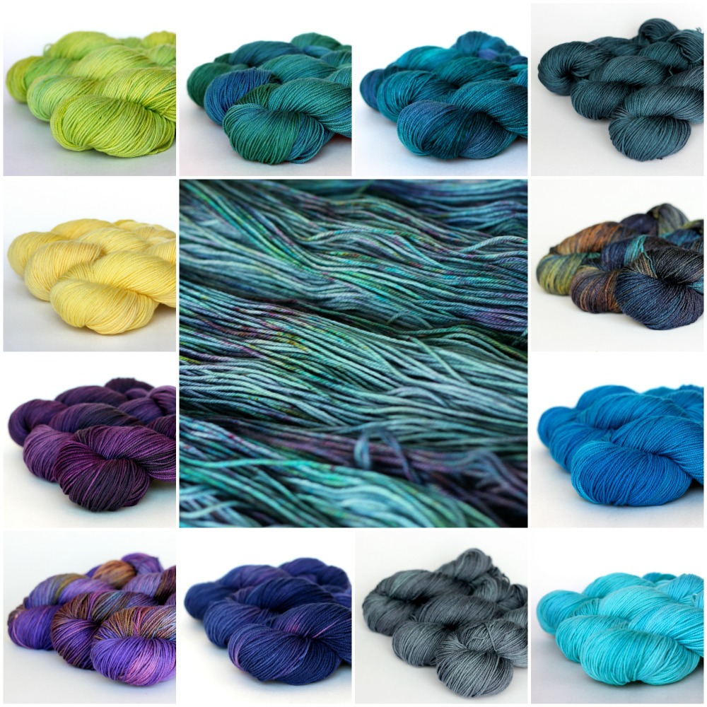 clockwise from top left: lemongrass, mallard, teal, ravine, aurora, peacock, seabreeze, slate, grape, iris, plum, buttercup.