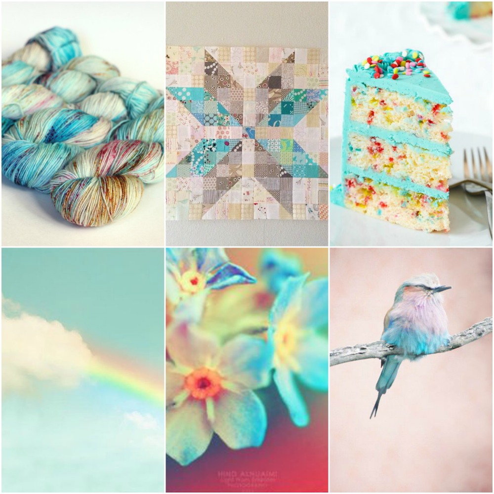 Blue Label in Hummingbird, star quilt, funfetti cake, rainbow, forget me not's, bird.