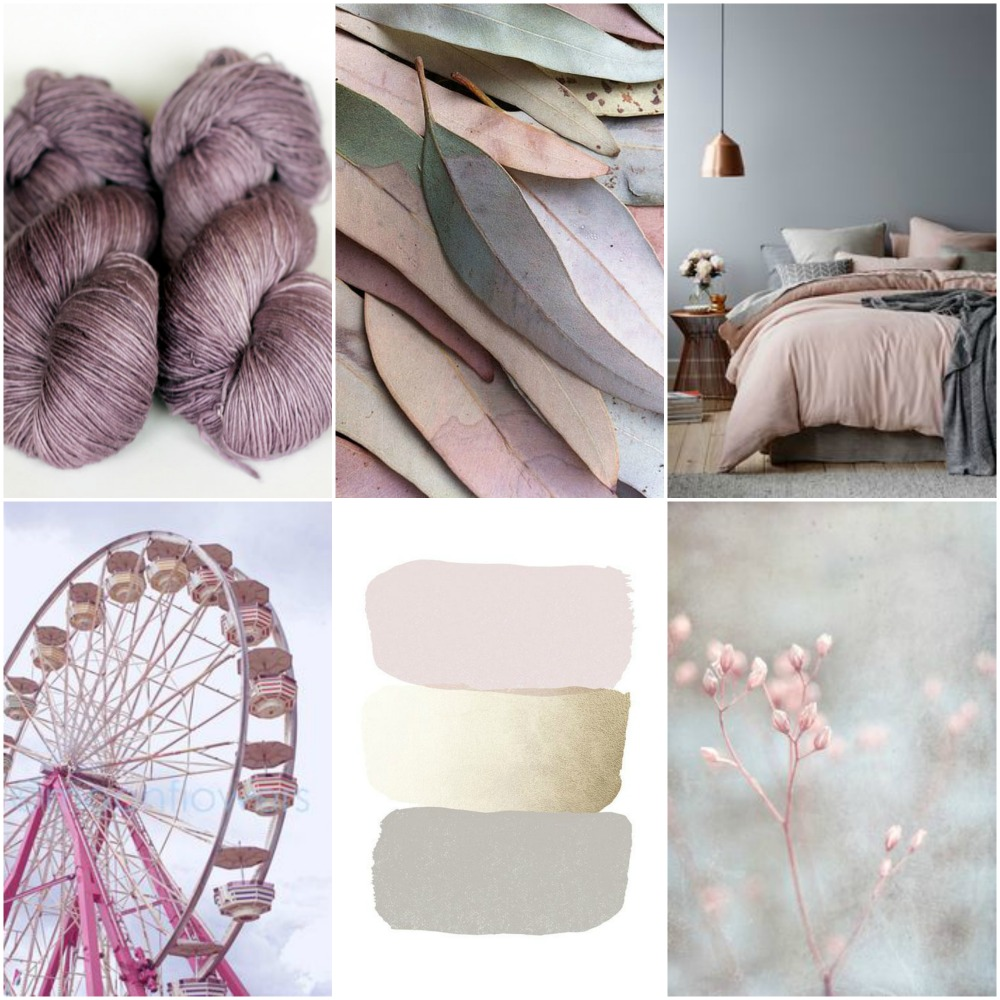 TFA Red Label in Rose Grey, feathers, bed, ferris wheel, water colour swatches, buds.