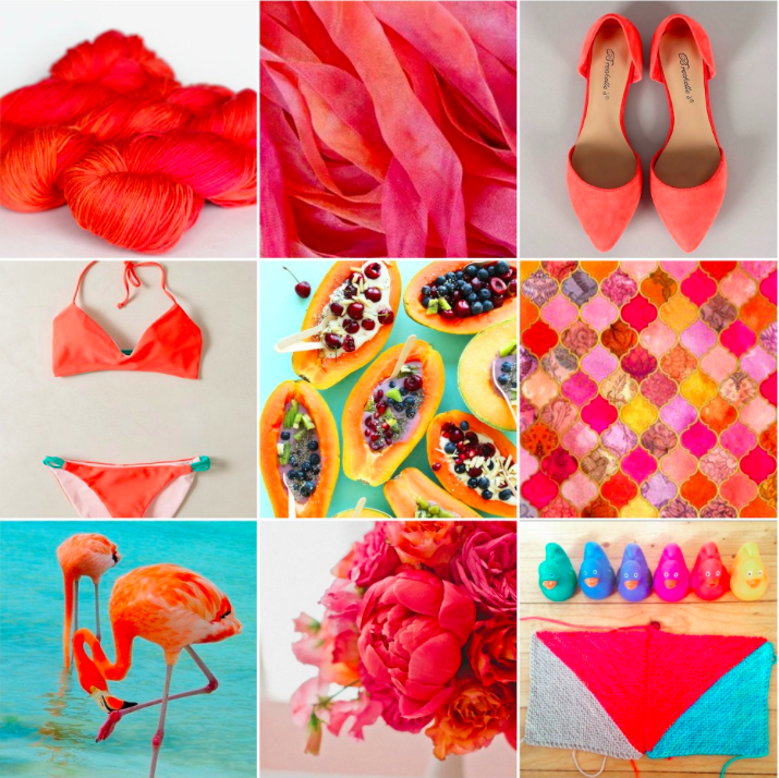 TFA Yellow Label in Papaya, ribbons, shoes, bikini, papaya bowls, tiles, flamingos, flowers, my #TFABlanketKAL WIP.