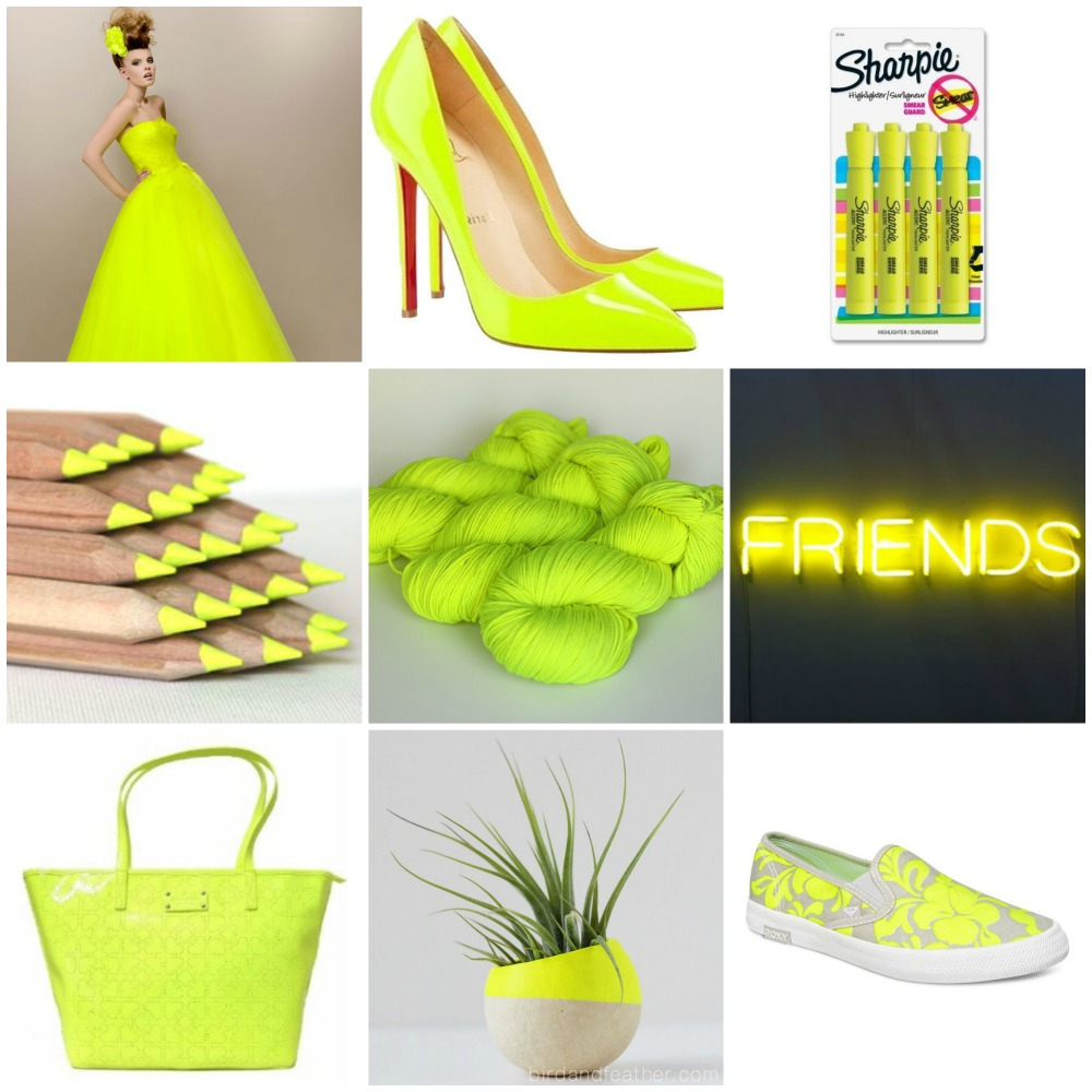 ball gown, heels, Sharpies, pencils, TFA PureWash DK in Highlighter, friends, purse, planter, Roxy slip on.