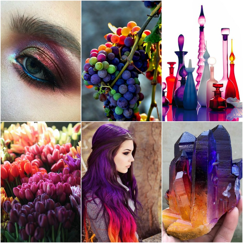 eyeshadow, grapes, bottles, sunset, tulips, hair, rainbow aura quartz.