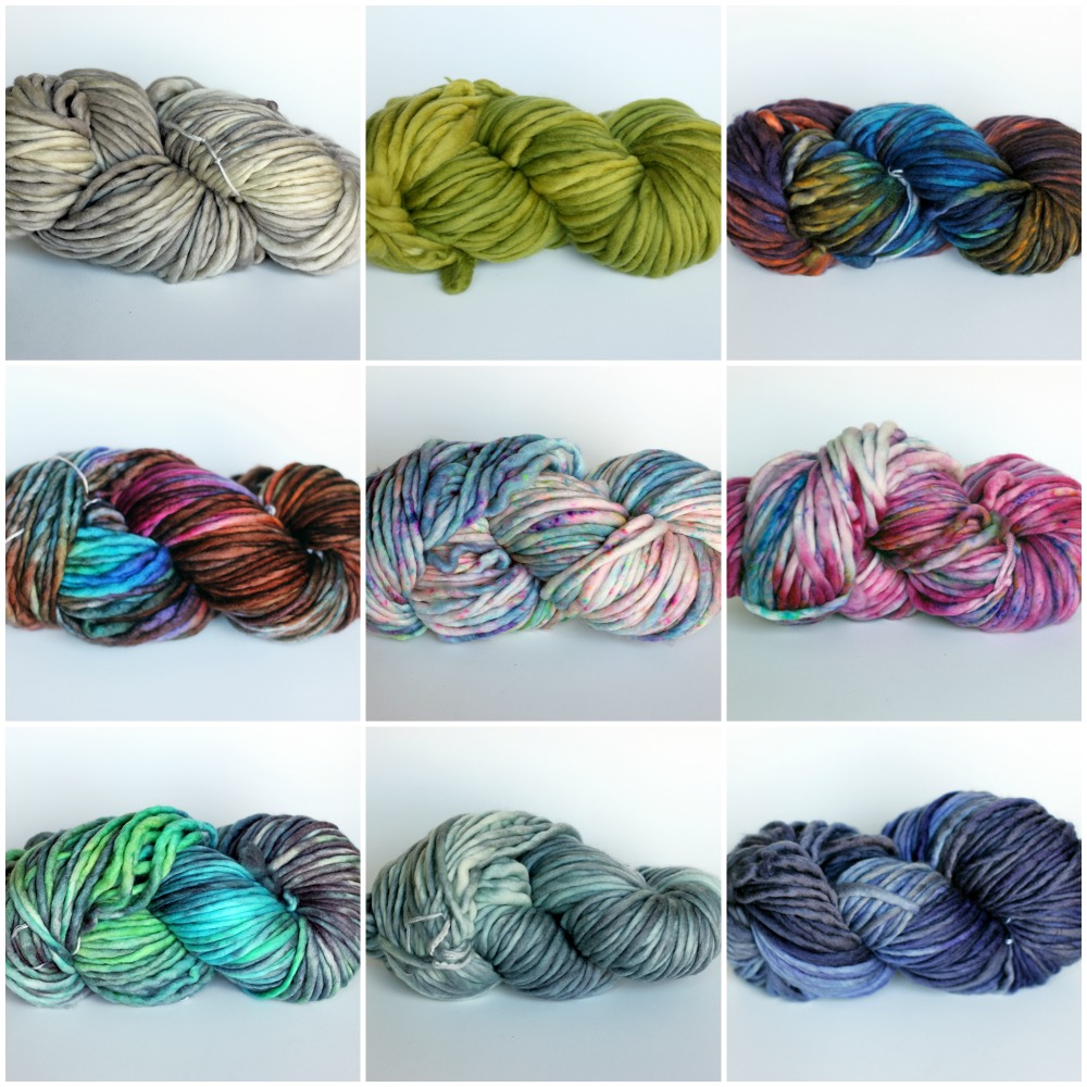 L to R, top to bottom: Sand, Chartreuse, Aurora, Tartan, Majestic, Cherry Burst, Lotus, Chris Grey, Nightshade.