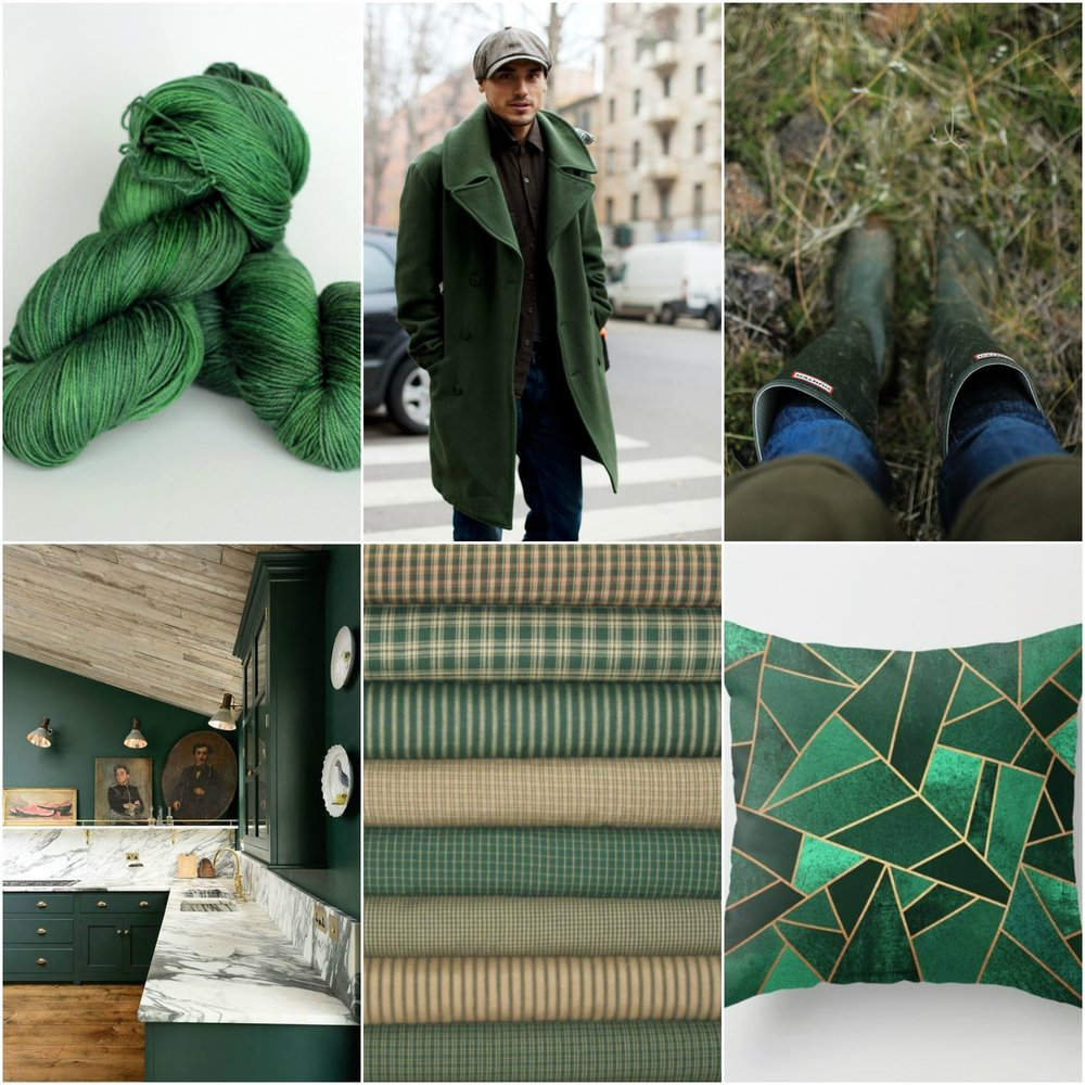 TFA Blue Label in Hunter, man in coat, boots, kitchen, plaids, pillow.