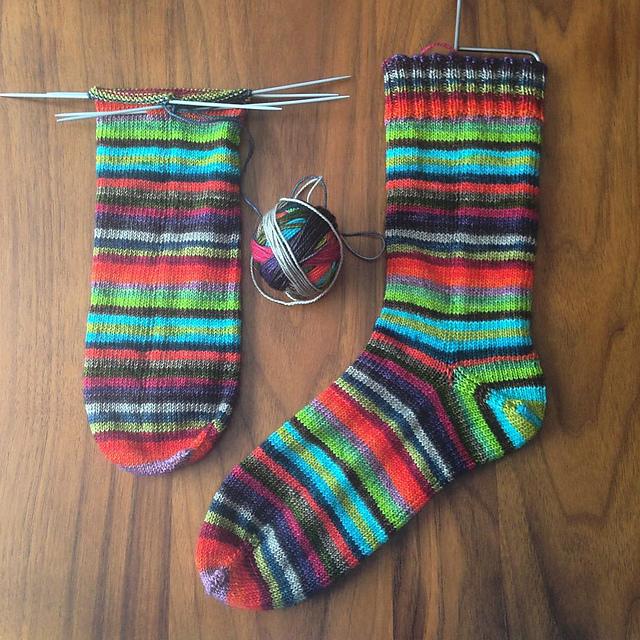 Totally identical socks in progress!