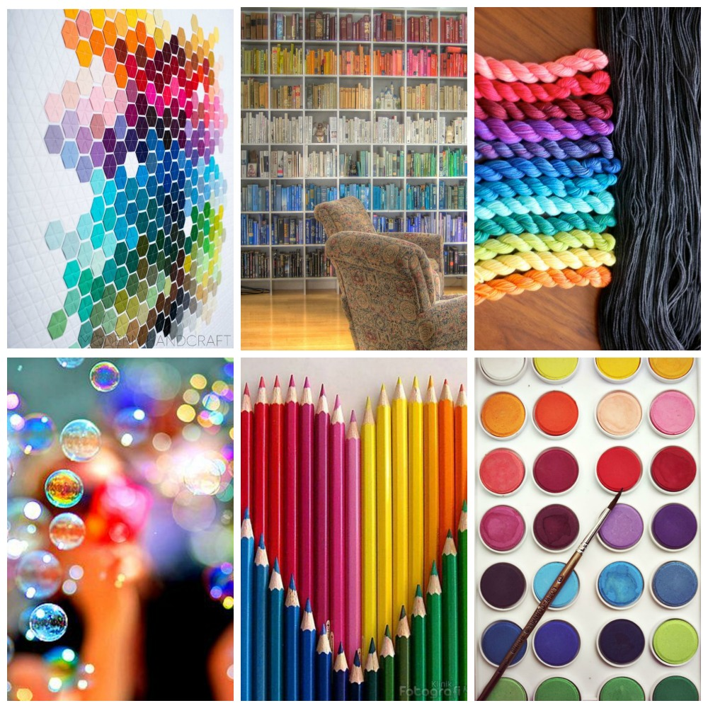 source: quilt, bookshelves, TFA Mini Sock Yarn Skein set, bubbles, pencils, palette.