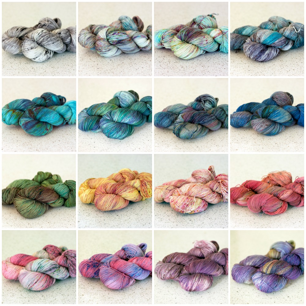 Top Row: Silent movie, Luna, Hummingbird, Cloudy.  2nd Row: Atlas, Aquarelle, Blueberry Burst, Poolside.  3rd Row: Grassroots, Mimosa, Bisou, Paisley.  Bottom Row: Smitten, Juliette, Laurel, Georgia.