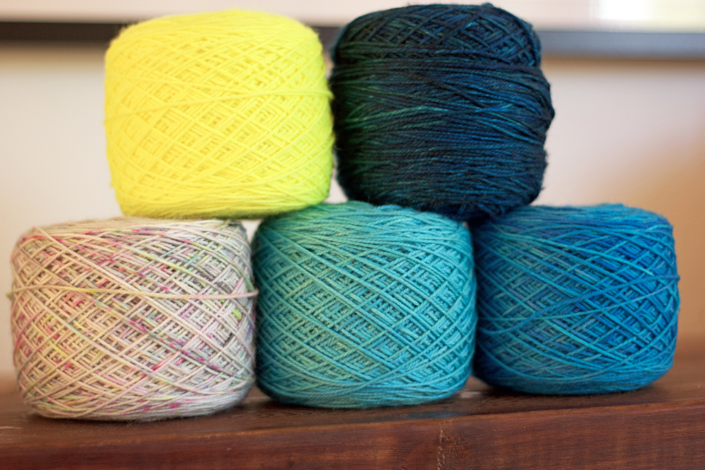 Highlighter, the Sanguine Gryphon Skinny Bugga in Blue Lobster, Crystal, Seabreeze and Peacock.