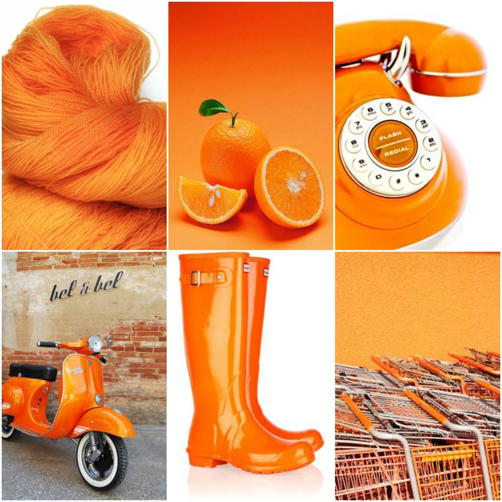TFA Pink Label in Orange Blossom, oranges, telephone, scooter, boots, shopping carts.