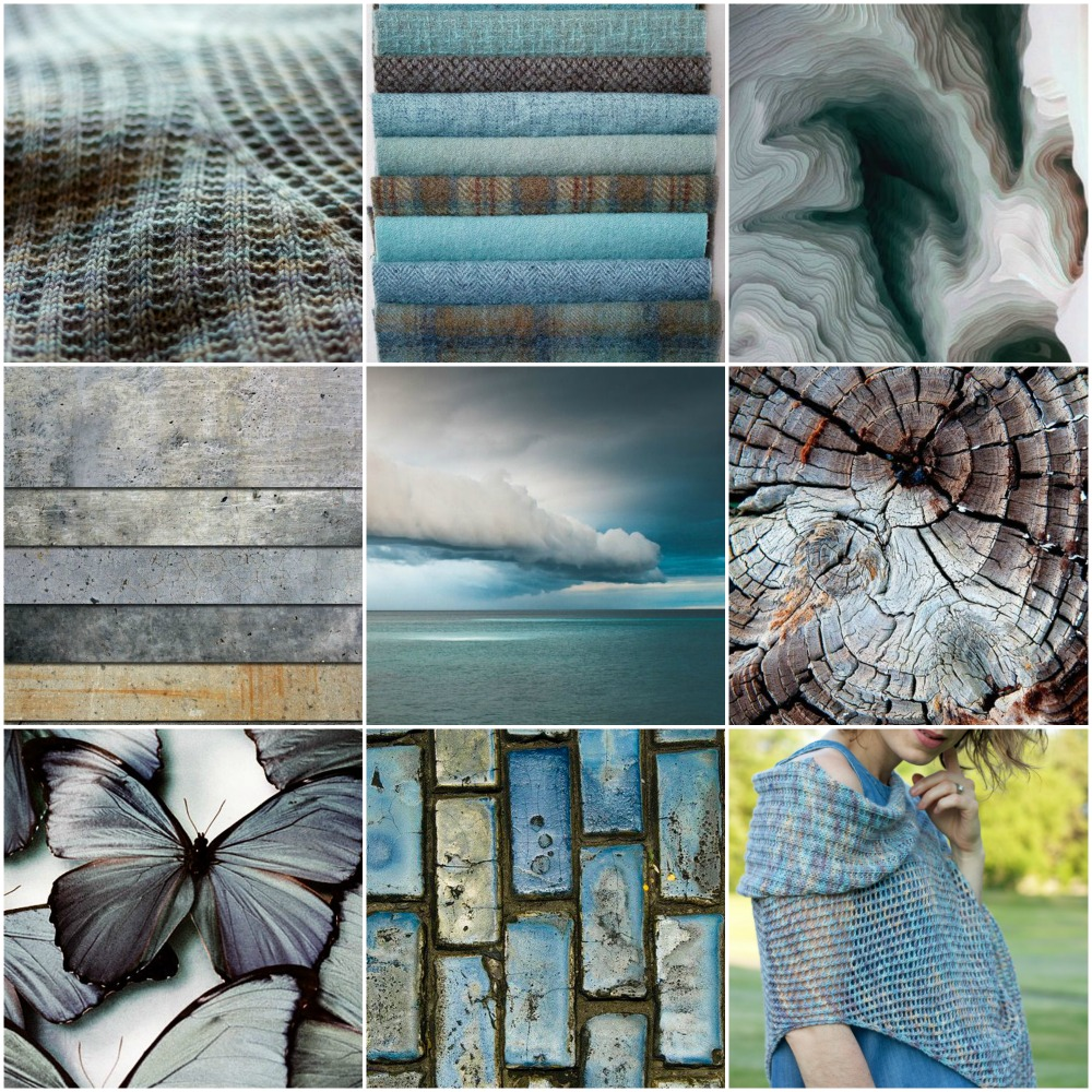 Fluidity Wrap detail, blue plaids, paper art, slabs, sky, tree stump, butterflies, blue cobblestone, Fluidity Wrap, wrapped.