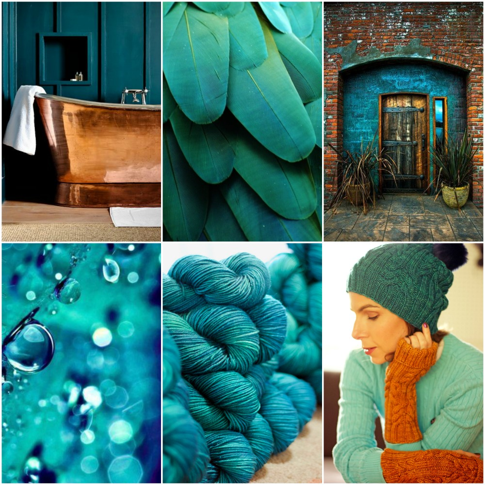 copper tub, feathers, doorway, raindrops, TFA Orange Label in Abyss (TFA Year In Colour Club Sept. 2017), Ah Caramel Hat and Mitts patterns.