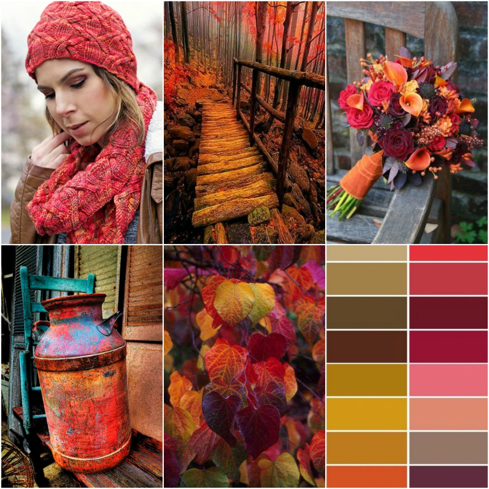 Afterglow Cowl and Hat, forest bridge, bouquet, milk pail, leaves, autumn colour palette.