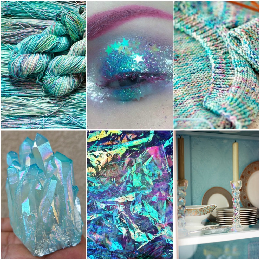 Rocket glamour shot, glitter eye shadow, a few of my WIP's, crystal cluster, iridescent foil, my china cabinet.
