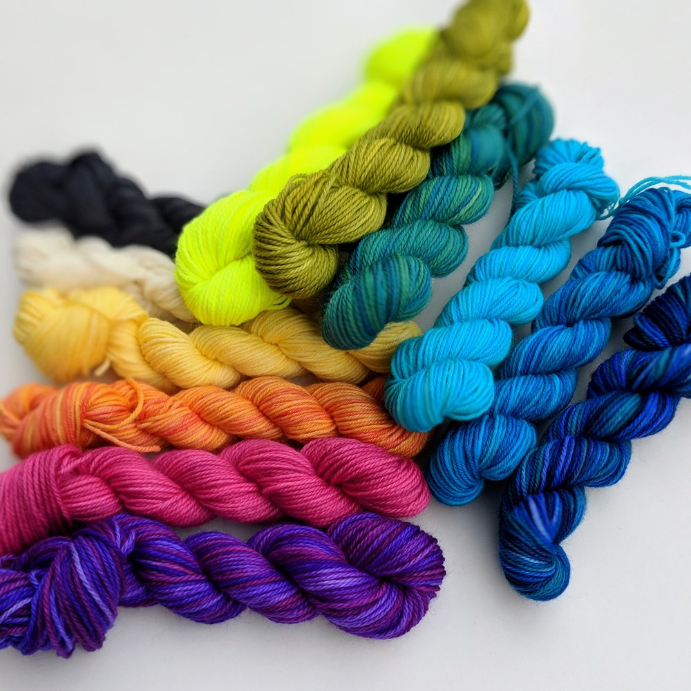 The shop is stocked with lots of kits today too! Including this really fun  Mini Sock Yarn Skein set .