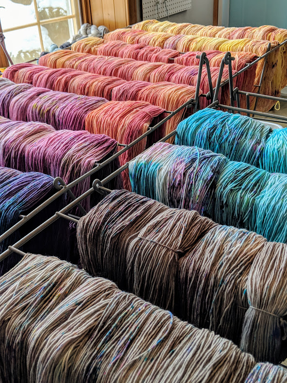 The prettiest drying racks! Colours for a new yarn bundle kit coming soon. :)