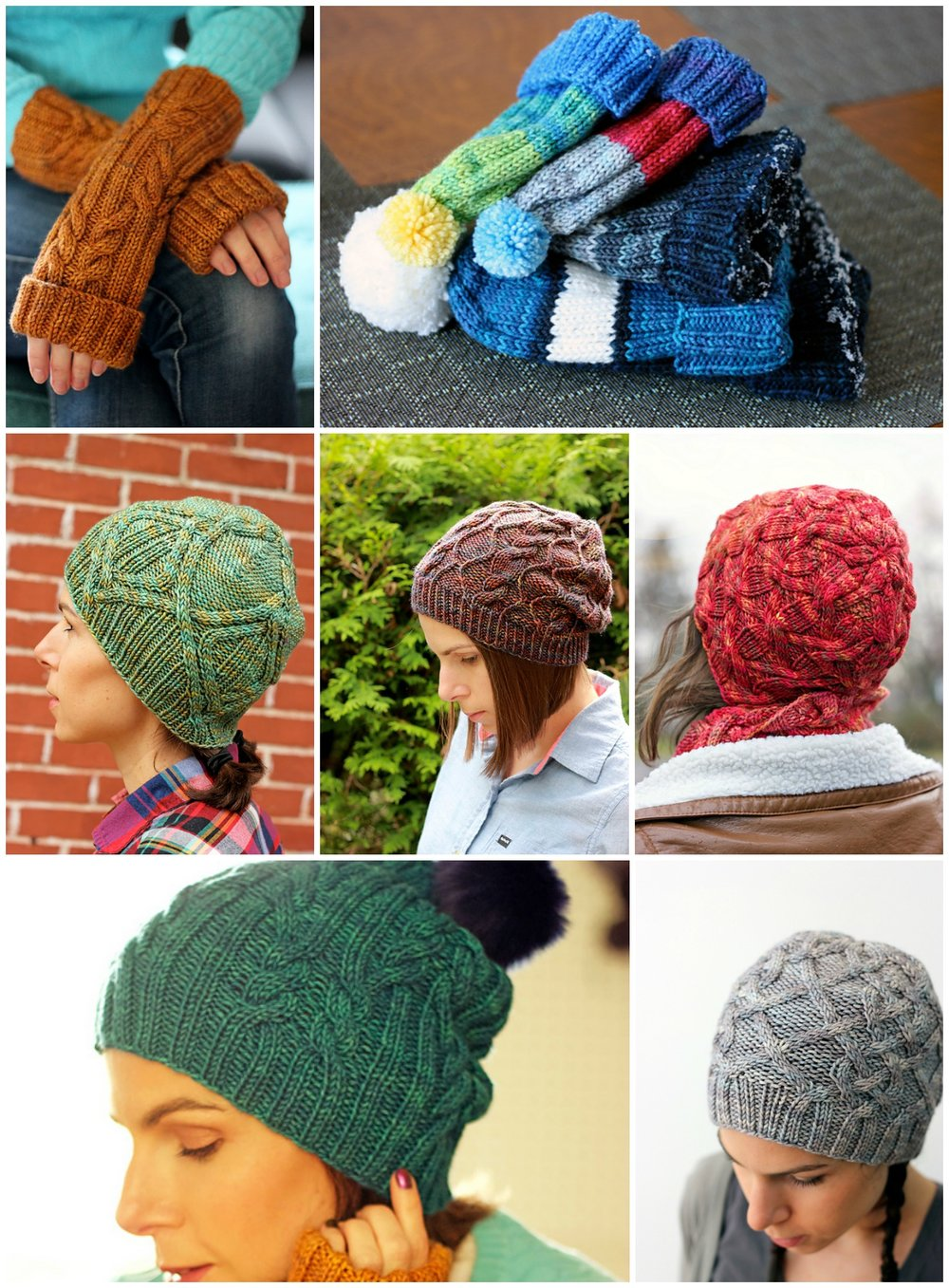 Ah Caramel Fingerless Mitts ,  Grammy's Hat  (free!)  Bract Hat ,  Framed Slouch ,  Afterglow Hat ,  Ah Caramel Hat ,  Cabled Canuck .