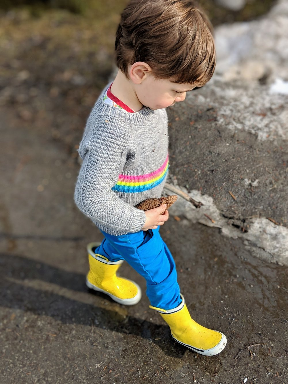 One of my favourite outfits currently. Yellow rain boots are always a good idea. Sweater is a  little Flax .