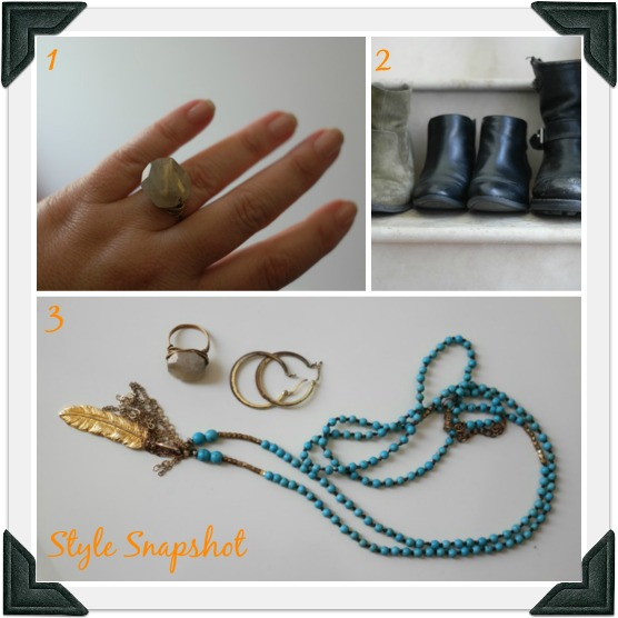 1. Anthropologie ring   2. Favorite booties    3. Anthropologie long feather necklace and gold hoops