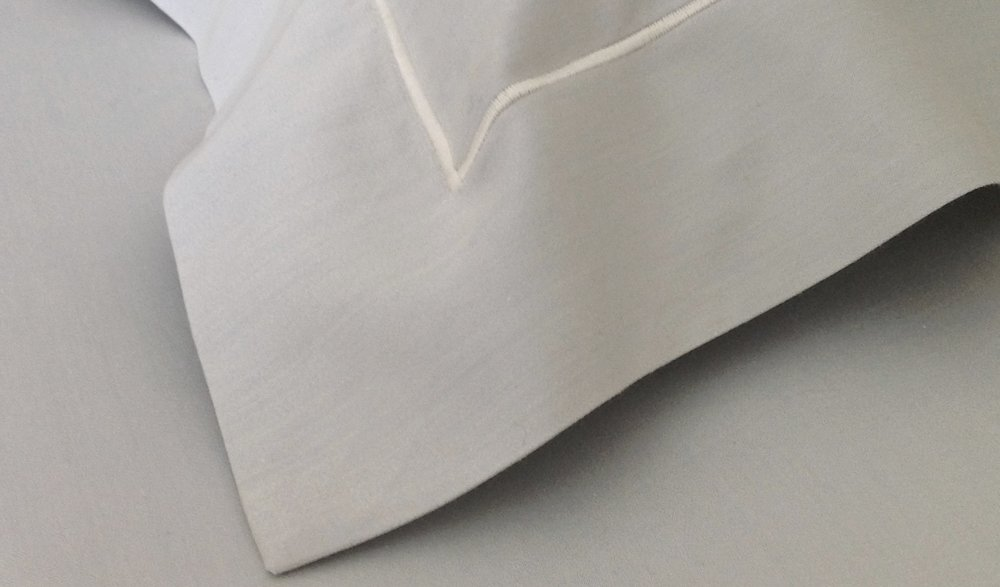 EMBROIDERED LINE STITCH ON SUPER SATEEN SHEETING, shown in Man of Steel Gray