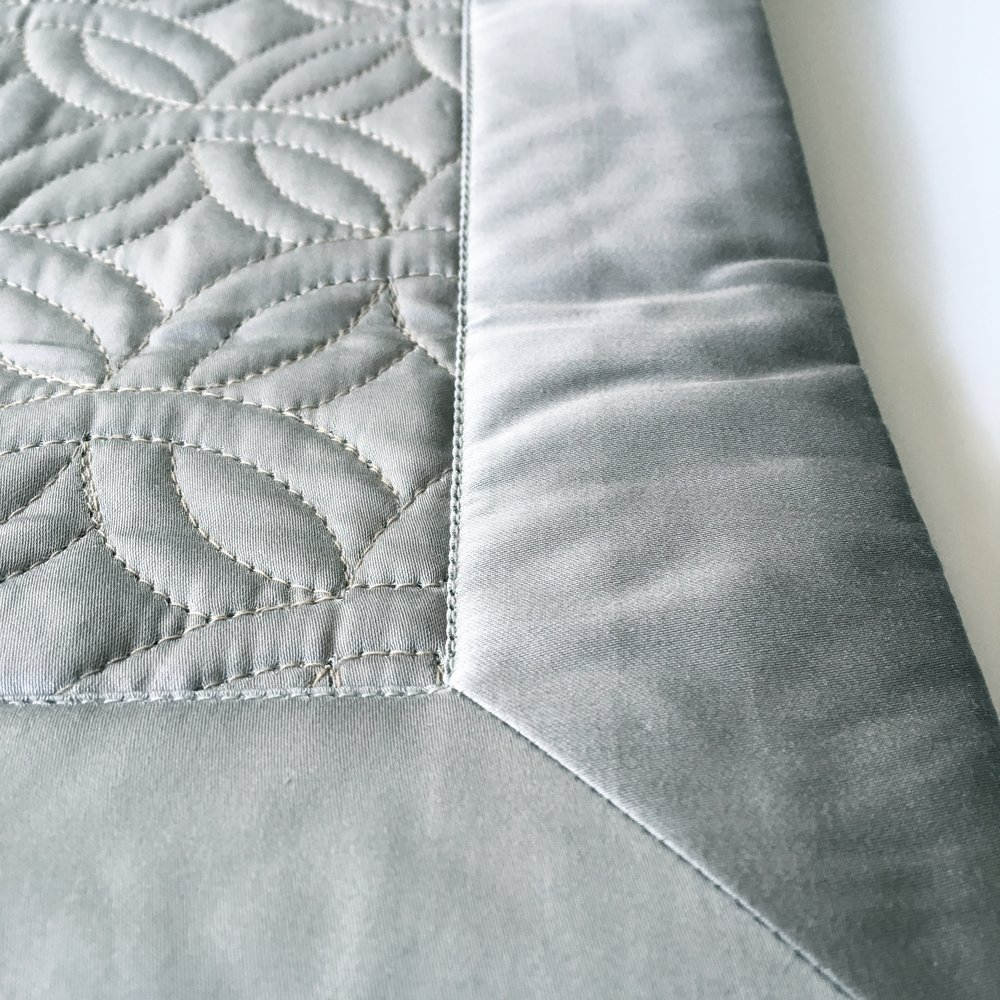 detail: mitered corner, sateen quilted bed cover