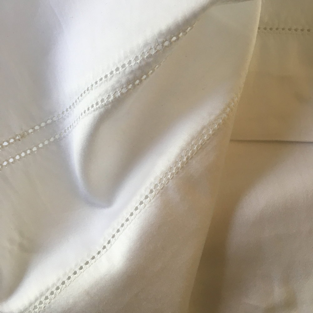 detail: hand-guide work, single + double hemstitch on sateen