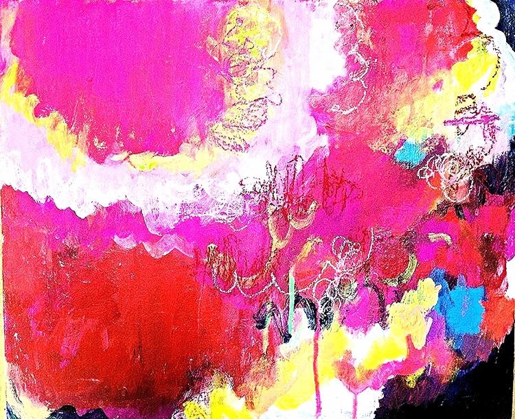 タイトル:Girl, 18x21インチ、アクリル、パステル、キャンバス,  http://www.kikukosakota.com/